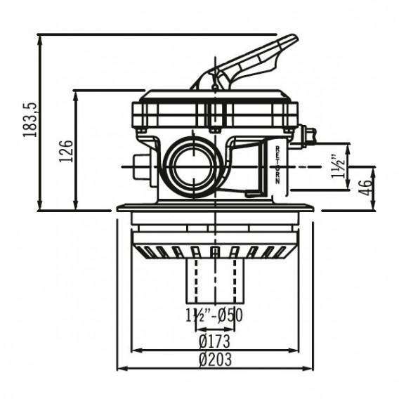 """Válvula selectora Flat Top 1½"""" dimensiones"""