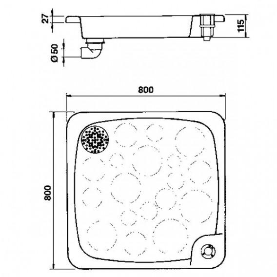 Plato ducha 80x80 con anclaje Ø43 dimensiones