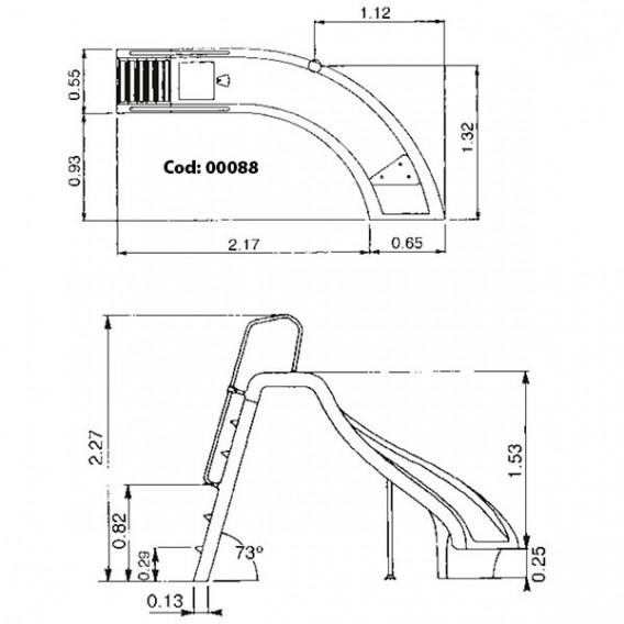 Tobogán piscina curvado AstralPool dimensiones derecha