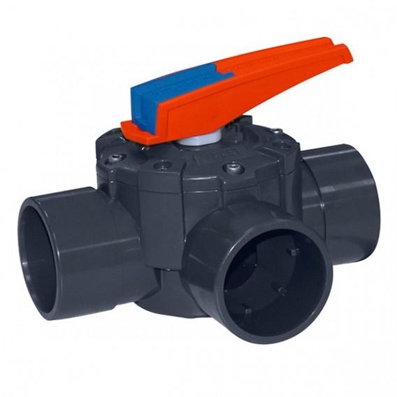 Válvula distribuidora a 3 vías PVC encolar (manual)