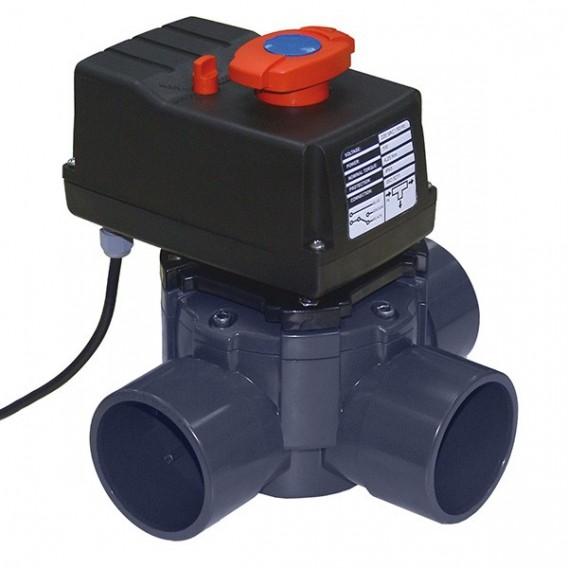 Válvula distribuidora a 3 vías en PVC para encolar (automática) Ø 63-75 mm