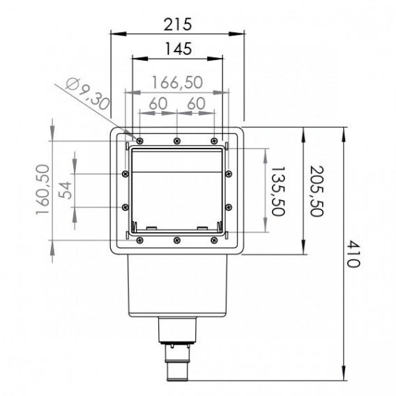 Skimmer marrón y boquilla de impulsión Gre AR100W dimensiones