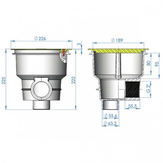 Sumidero Norm ABS rejilla plana piscina hormigón AstralPool