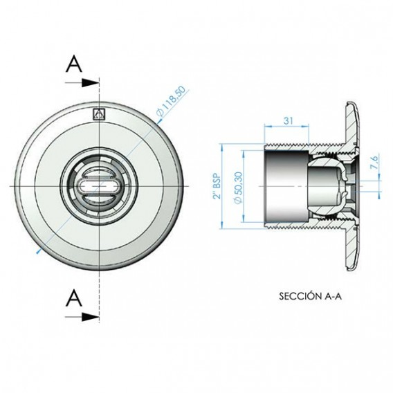Boquilla Norm ABS piscina hormigón AstralPool