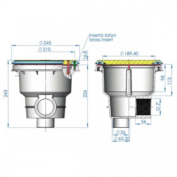 Dimensiones sumidero Norm rejilla plana piscina liner y prefabricada AstralPool