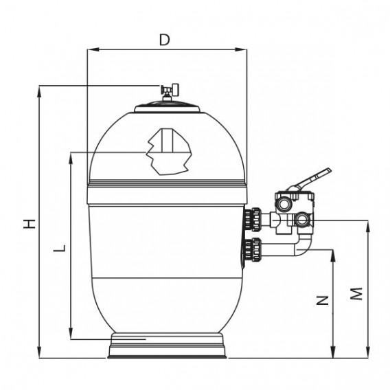Dimensiones filtro Rapidpool Lateral AstralPool