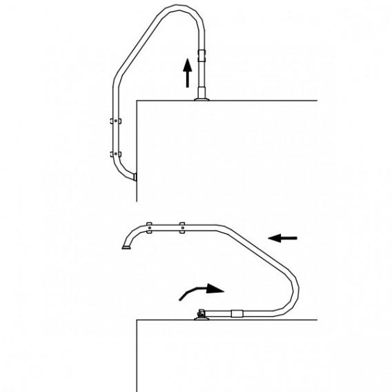 Anclaje articulado escalera piscina con pletina 08727
