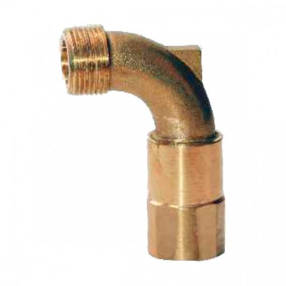 Codo giratorio para llave en bronce