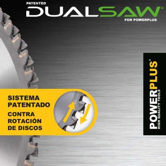 Sierra radial doble disco Dual Saw 1050W 125mm Powerplus POWX0680