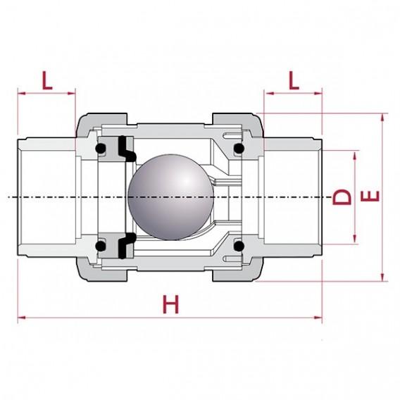 Válvula antirretorno de bola PVC Cepex EPDM encolar