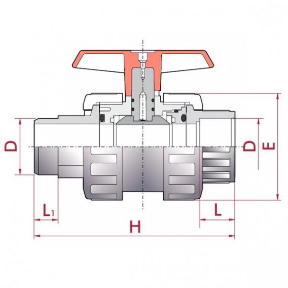 Válvula de bola PVC PN10 Cepex encolar macho x hembra