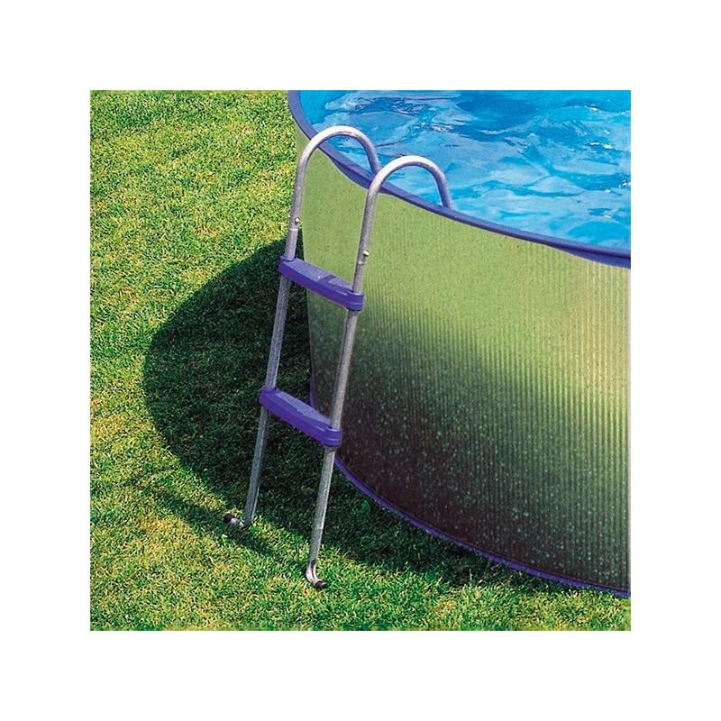 Piscina desmontable gre tenerife circular acero for Escalera piscina desmontable
