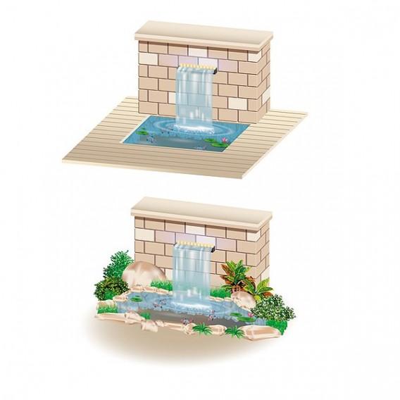Cortina de agua led cascada estanque piscina Heissner