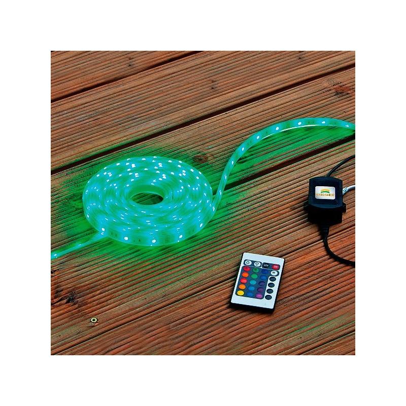 Tira led colores rgb sumergible con mando 5m heissner for Tiras led de colores
