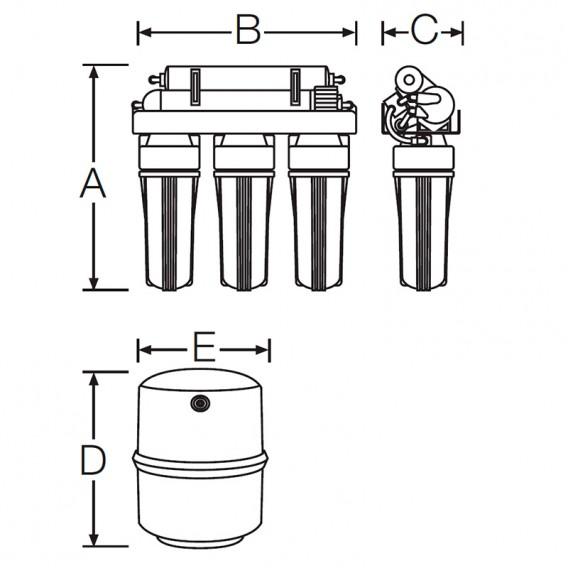 Ósmosis inversa 5 etapas con bomba GENIUS dimensiones