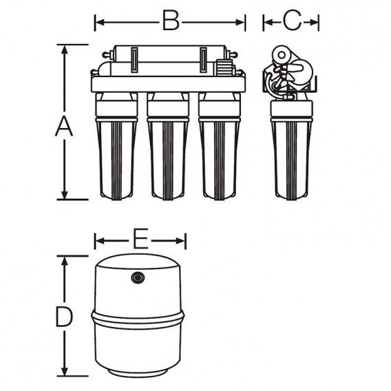 Ósmosis inversa 5 etapas sin bomba GENIUS-4/75/FLM