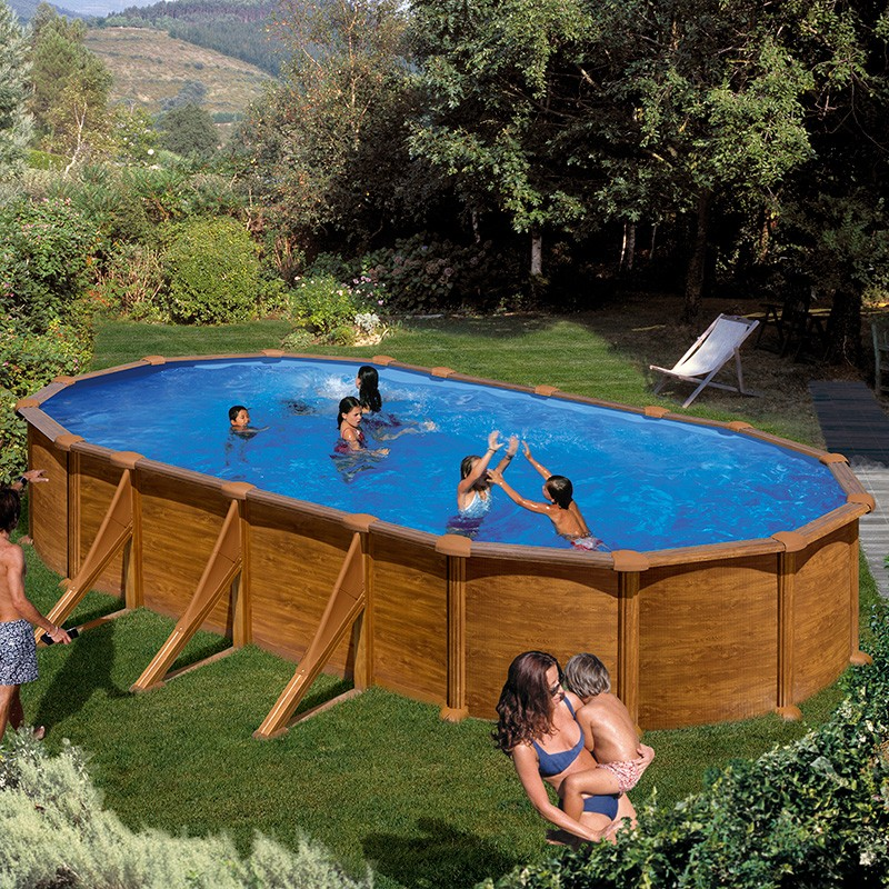 Piscina desmontable gre mauritius ovalada imitaci n madera for Ideas para piscinas intex