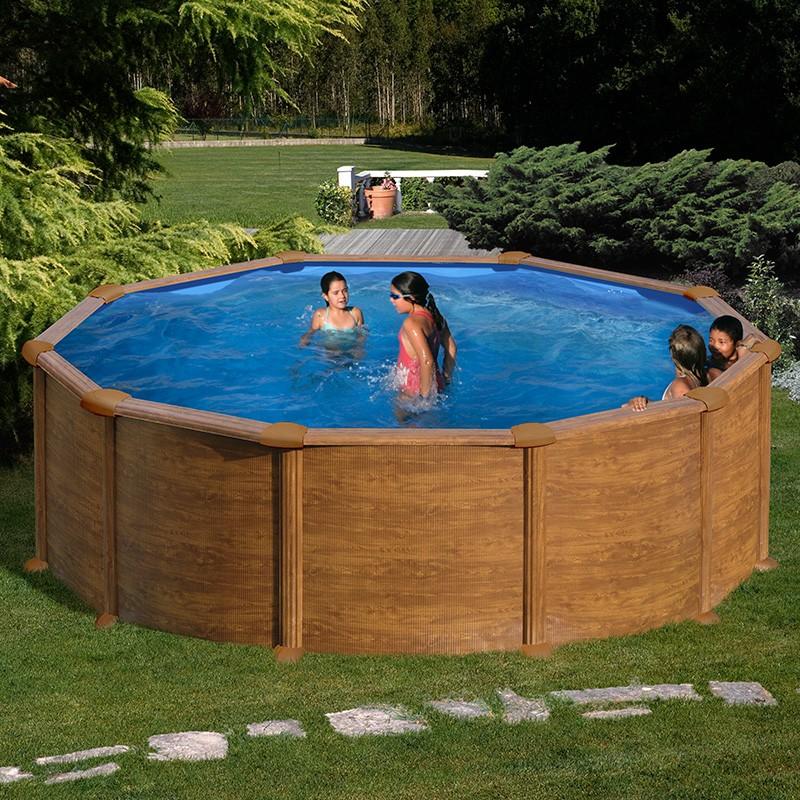 Piscina desmontable gre mauritius circular imitaci n for Complementos piscinas desmontables
