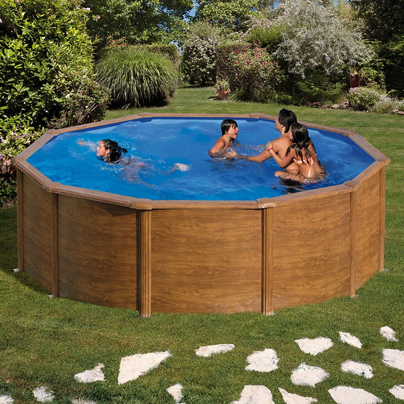 Piscina desmontable gre pacific circular imitaci n madera for Piscinas desmontables en amazon