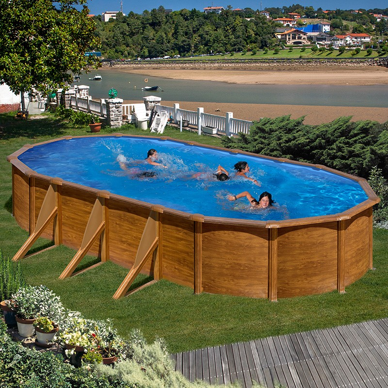 Piscina desmontable gre pacific ovalada imitaci n madera for Piscine intex 3x2