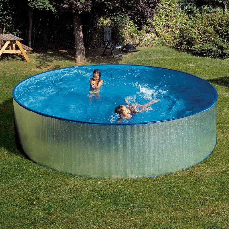 Piscina desmontable gre tenerife circular acero for Piscinas de plastico para jardin