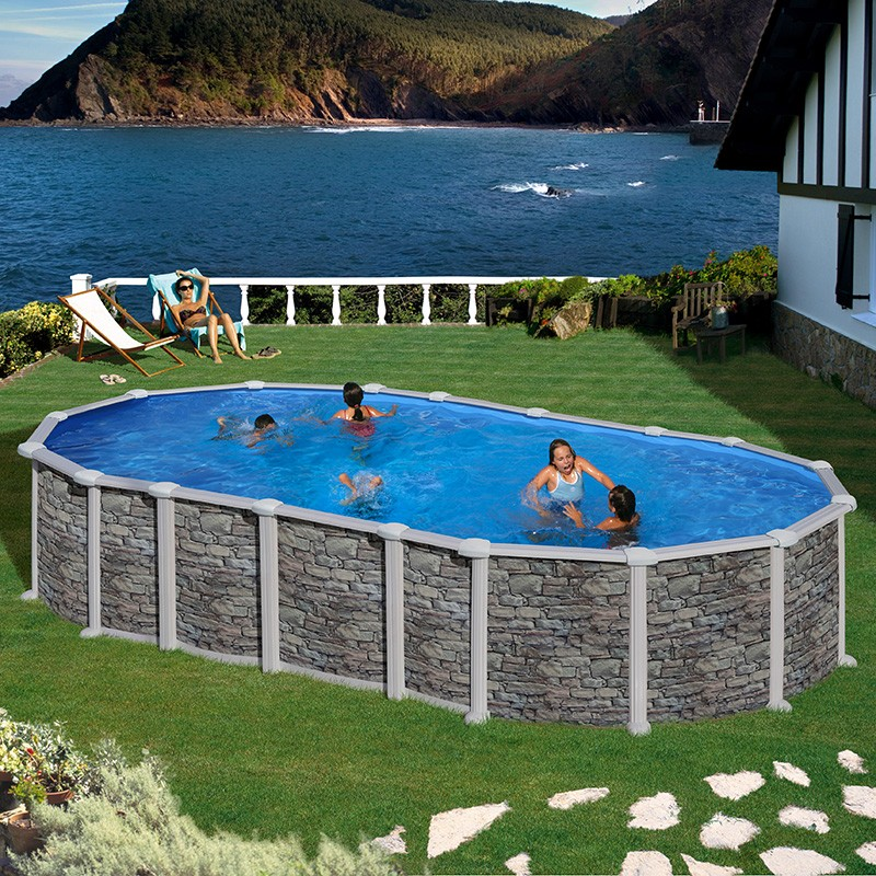 Piscina gre santorini ovalada imitaci n piedra poolaria for Complementos piscinas desmontables