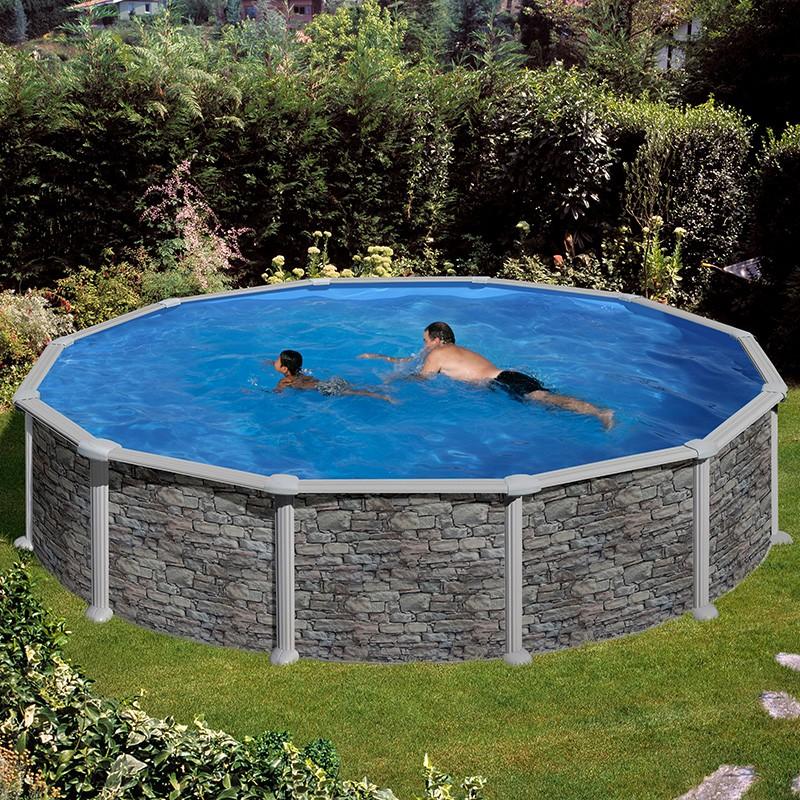 Piscina desmontable gre c rcega circular imitaci n piedra for Como hacer una piscina economica