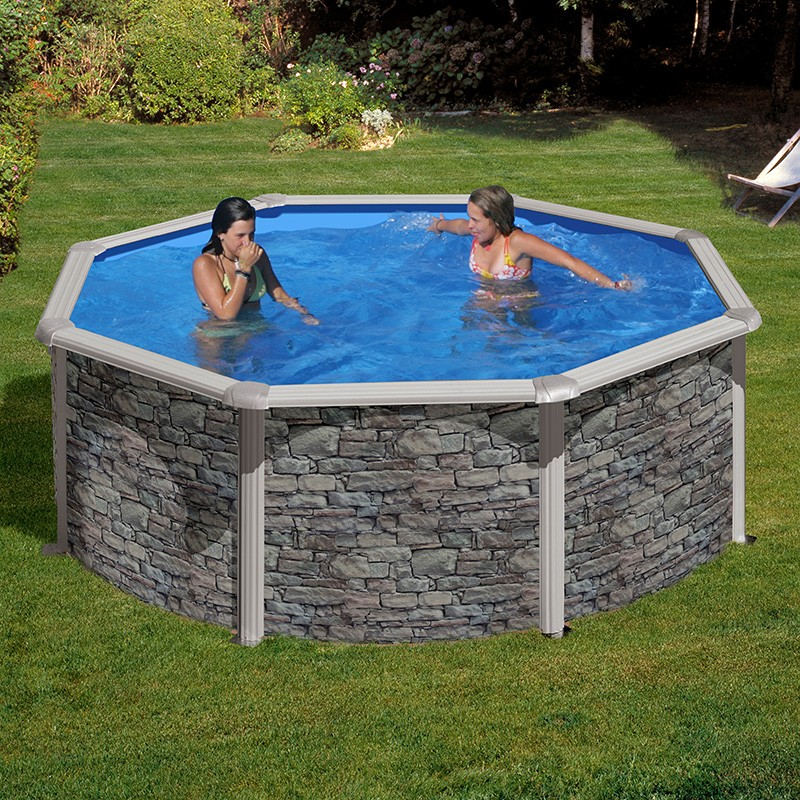 Piscina desmontable gre cerde a circular aspecto piedra for Piscina desmontable 4x2