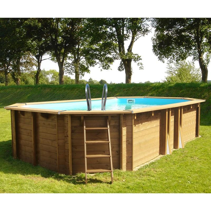 Piscina de madera gre sunbay safran ovalada 637x412x133 for Piscinas desmontables gre