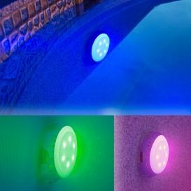 Foco proyector LED colores válvula retorno piscina Gre LEDRC
