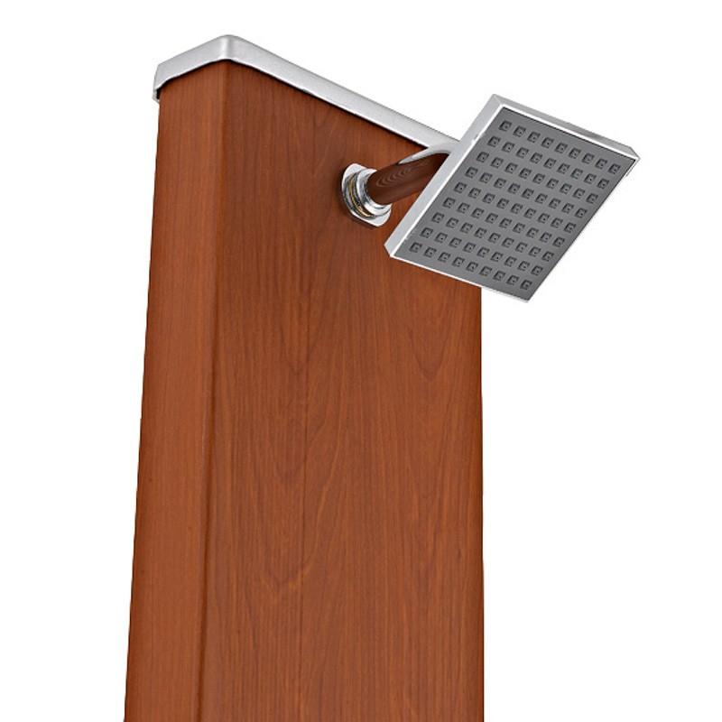 Ducha solar cuadrada aspecto madera 32 litros dsalc32w poolaria - Duchas exterior ...