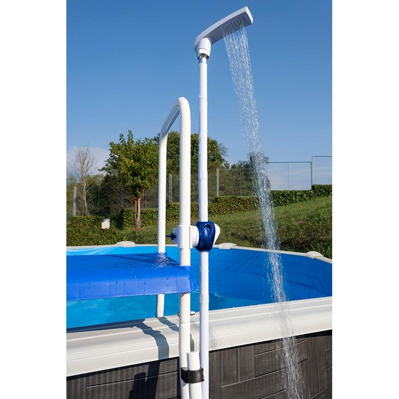 Ducha fijaci n a escalera piscina desmontable gre dpe10 for Escalera piscina desmontable