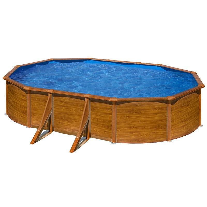 Piscina gre starpool ovalada aspecto madera altura 120 cm for Piscinas desmontables madera
