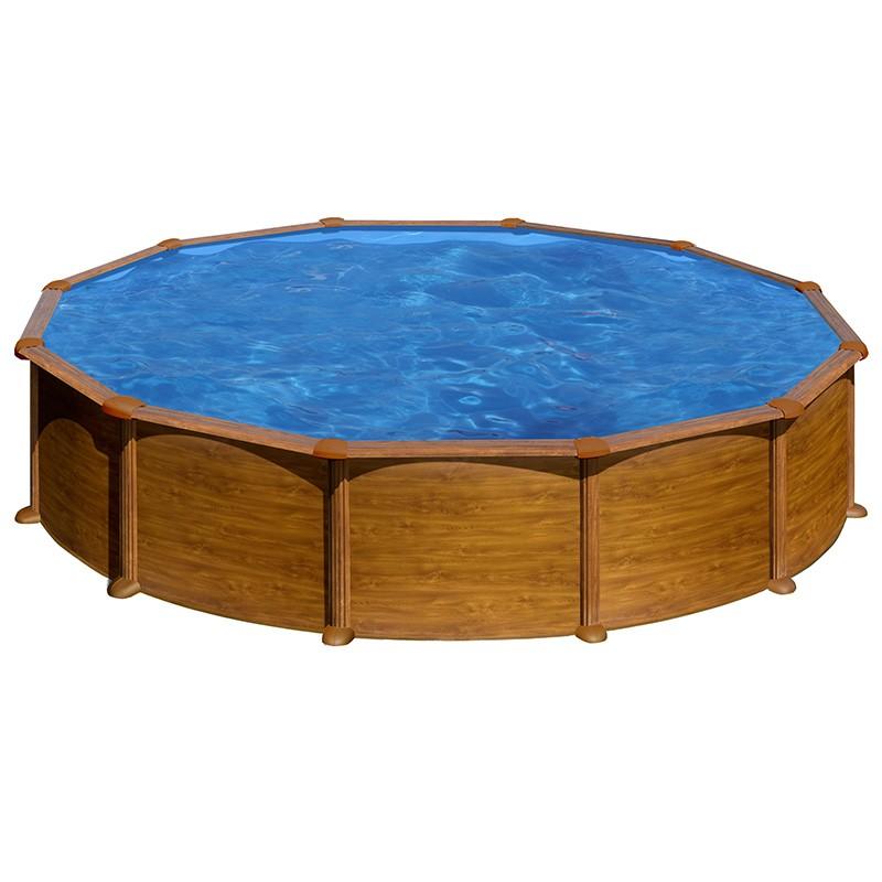 Piscina gre starpool circular aspecto madera altura 132 cm for Piscina 90cm altura