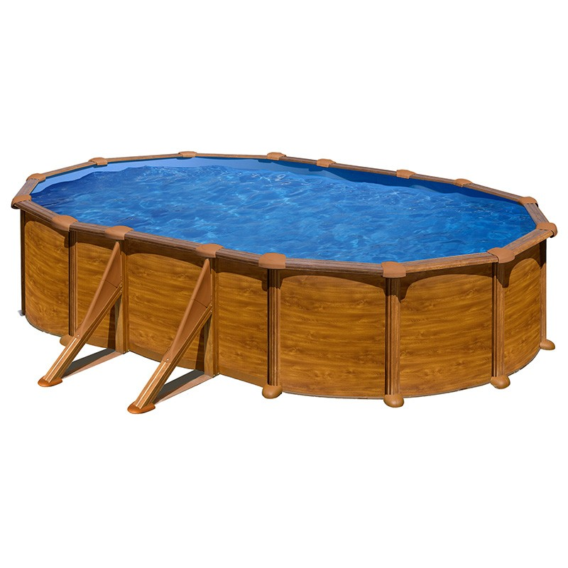 Piscina gre starpool ovalada aspecto madera altura 132 cm for Piscina ovalada hinchable