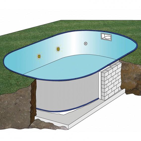 Esquema instalación piscina enterrada Gre Starpool ovalada