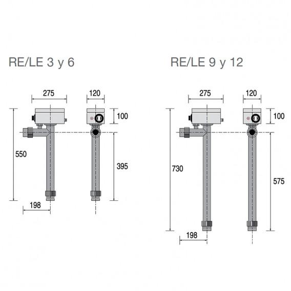 Dimensiones calentador eléctrico Zodiac RE/L