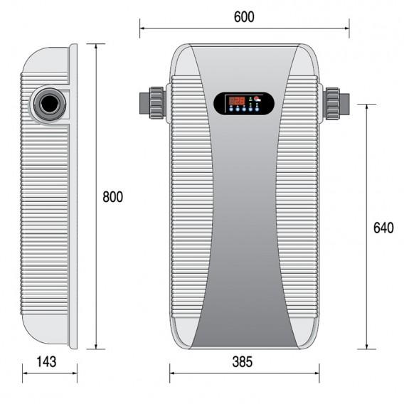 Dimensiones calentador eléctrico Zodiac RE/U