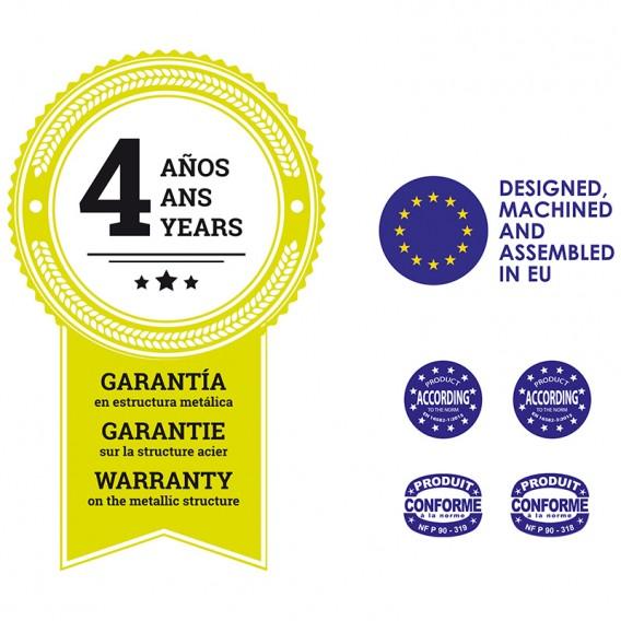 Garantía de 4 años en estructura metálica