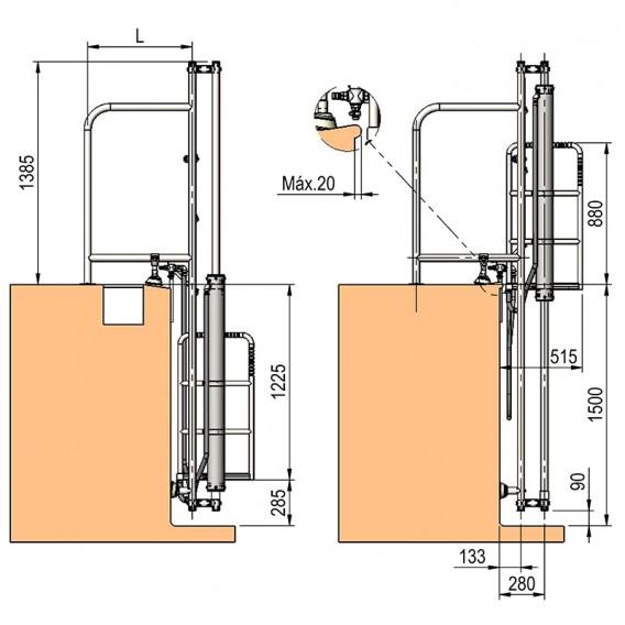 Dimensiones elevador hidráulico AstralPool