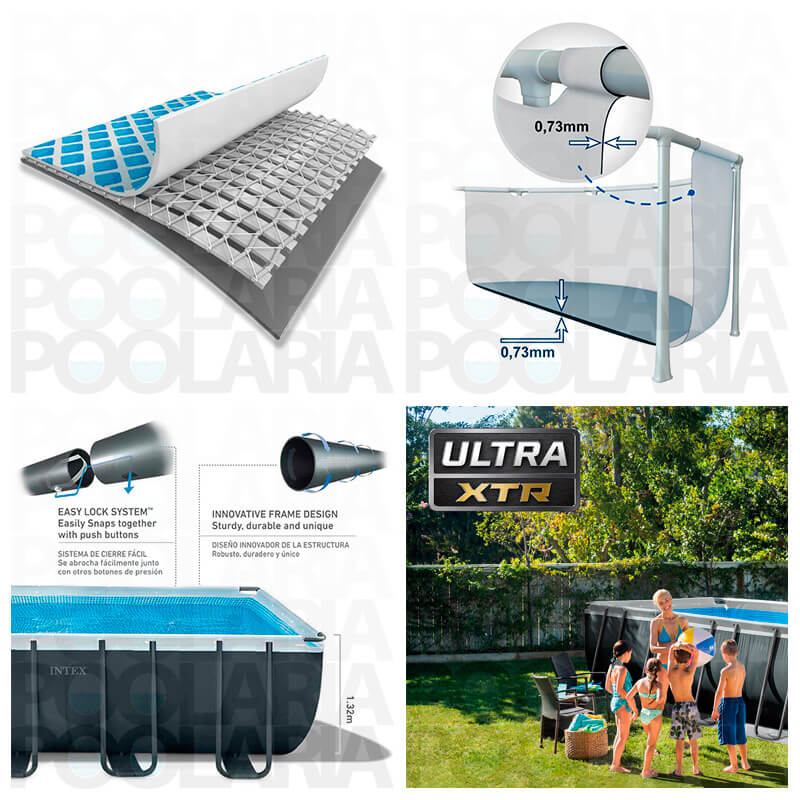 Detalles piscina Intex Ultra XTR Frame rectangular